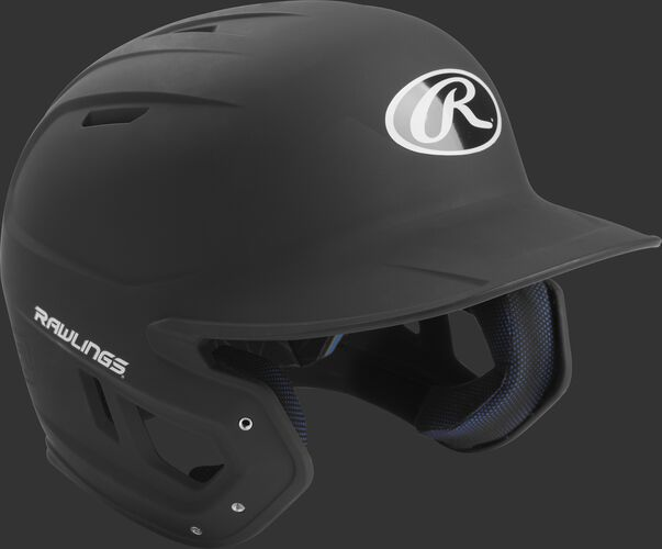 Right angle view of a matte MACH Senior batting helmet with a black shell