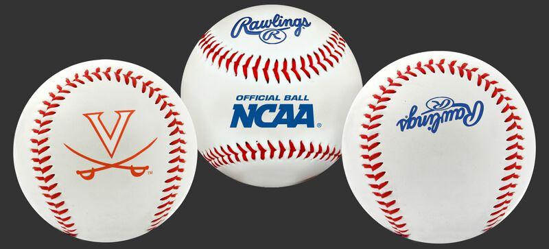 3 views of a NCAA Virginia Cavaliers baseball with a team logo, NCAA logo and Rawlings logo