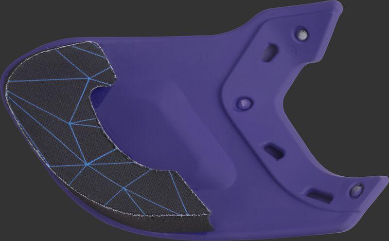 Padding on a purple MEXT Rawlings Mach EXT batting helmet extension