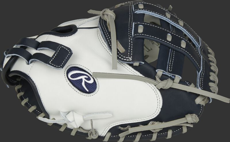 Thumb of a white RLACM33FPN Liberty Advanced Color Series 33-inch catcher's mitt with a navy H web