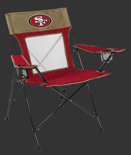 Front of Rawlings Gold and Red NFL San Francisco 49ers Game Changer Chair With Team Logo SKU #00651084111