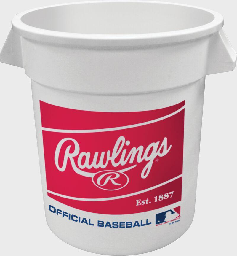 Red Rawlings patch on a white MLB Big Bucket - SKU: BIBUCK6PK
