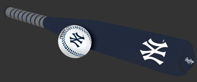Side of Rawlings New York Yankees Foam Bat and Ball Set in Team Colors With Team Name and Logo On Front SKU #01860030111