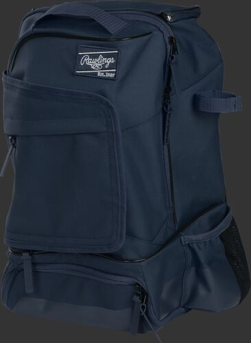 Left angle of a navy R701 universal training backpack