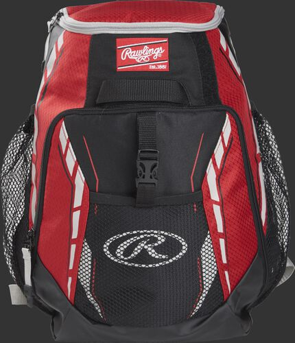 A scarlet R400 youth players team backpack with a gray Oval R logo on the front pocket