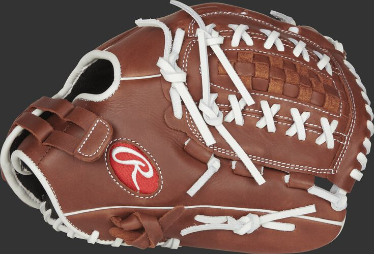Thumb view of a brown R9SB120FS-18DB R9 Series 12-inch fastpitch glove with a brown Double-Laced Basket web