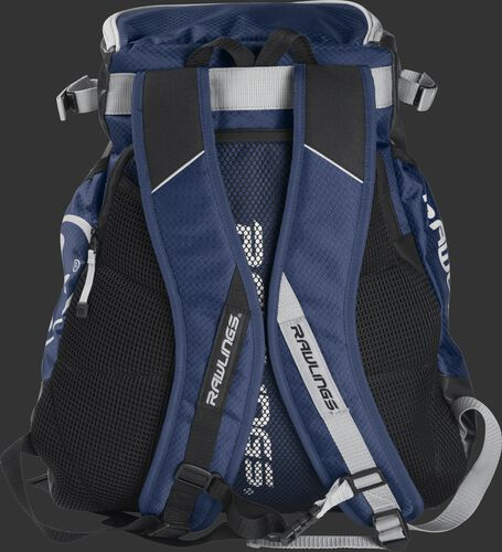 Back of a navy VELOBK Rawlings Velo backpack with navy shoulder straps