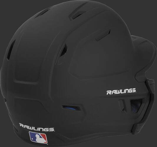Back right of a matte black MACHEXTL Rawlings junior size batting helmet