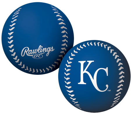 A blue Kansas City Royals Big Fly rubber bounce ball