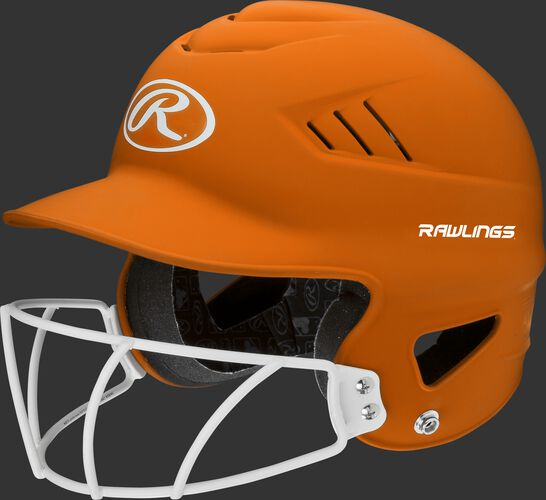 A neon orange RCFHLFG Coolflo batting helmet with a white facemask