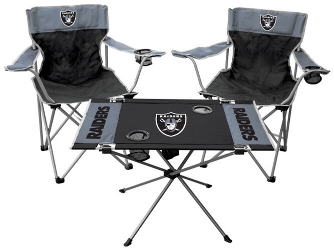 Front of Rawlings Black and Silver NFL Oakland Raiders 3-Piece Tailgate Kit With Two Kickoff Chairs, An Endzone Table, And A Transport Bag With Team Logo SKU #01041072511