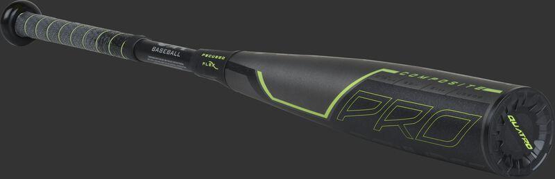 3/4 angle view of a US9Q8 Quatro Pro USA baseball bat with a grey/black barrel and green accents