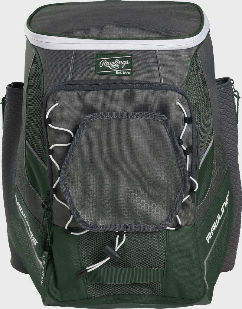 Front of a dark green Impulse baseball backpack with a gray front pocket - SKU: IMPLSE-DG