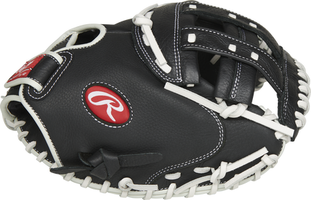 Thumb of a black RSOCM325BW Shut Out 32.5-inch fastpitch catcher's mitt with a black Modified H-web