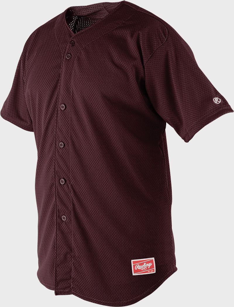 Front of Rawlings Maroon Adult Short Sleeve Jersey  - SKU #RBJ167