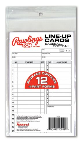 Rawlings White System-17 Lineup Cards Refill Pack With 12 Four Part Forms SKU #17LU