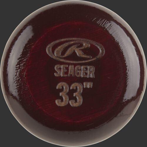 Maroon knob of a CS5PL Rawlings Corey Seager wood bat