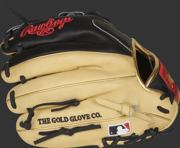 Camel fingers of a 2021 Rawlings HOH R2G infield glove with the MLB logo on the pinkie - SKU: PROR204U-2CB