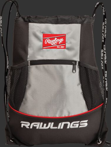 A black/silver SKPK Rawlings players drawstring backpack