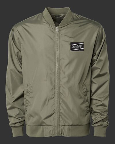 A dark green Rawlings lightweight bomber jacket with a black/silver Rawlings patch logo on the chest - SKU: RSGBJ-DG