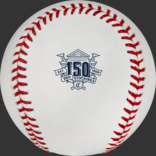 The 150th Anniversary Cincinnati Reds logo with the stadium stamped on the ROMLBCIN150 baseball
