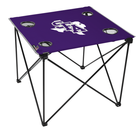 A purple NCAA Stephen F. Austin Lumberjacks deluxe tailgate table with four cup holders and team logo printed in the middle