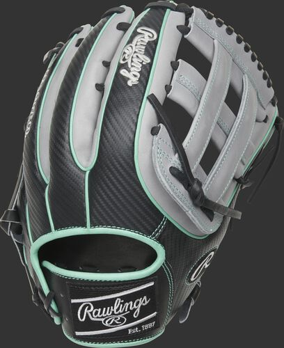 Back of a HOH Hyper Shell outfield glove with a black Hyper Shell back and mint double welting/binding - SKU: PRO3319-6BGCF