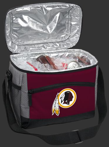 An open Washington Football team 12 can cooler filled with ice and drinks - SKU: 10111087111