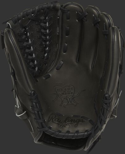 PRO205W-15DSP Rawlings Heart of the Hide glove with a dark shadow palm and black laces