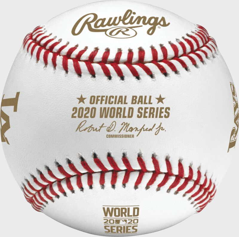 A 2020 World Series dueling baseball with gold stamping and the Official Ball of MLB stamp - SKU: EA-WSBB20DL-R