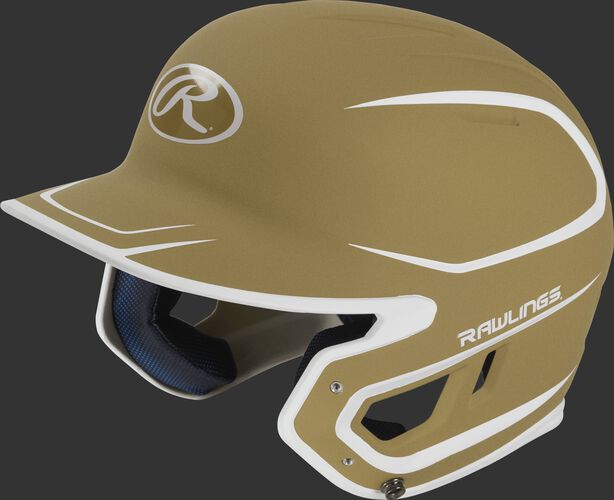 Left angle view of a Rawlings MACH Senior helmet with a two-tone matte vegas gold/white shell