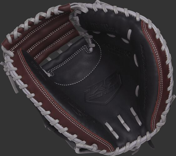 R9CM325BSG Rawlings 32.5-inch R9 catcher's mitt with a black palm, dark sherry palm and grey laces