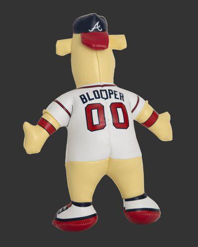 Back of Rawlings MLB Atlanta Braves Mascot Softee With White Team Jersey, Navy Hat, and Mascot Name Blooper SKU #03770005111
