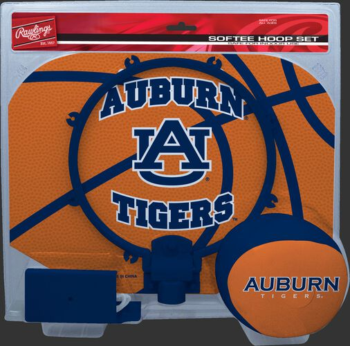 A NCAA Auburn Tigers hoop set with a navy/orange ball and team logo printed on the backboard SKU #04843003114