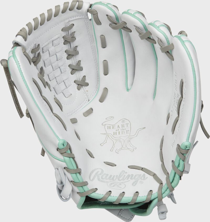 White palm of a Rawlings HOH infield/pitcher's softball glove with a white web and grey laces - SKU: PRO716SB-18WM
