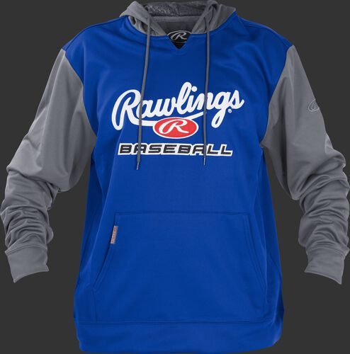 Front of Rawlings Royal/Gray Youth long Sleeve Hoodie - SKU #YPFHPRBB-GR-88