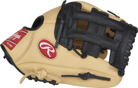 Thumb view of a camel SPl112BC 11.25-inch Select Pro Lite Brandon Crawford youth infield glove with a black H web