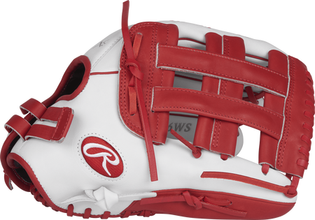 Thumb view of a white RLA130-6WS Liberty Advanced color series 13-inch fastpitch glove with scarlet trim and a scarlet H web