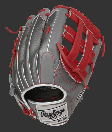 Gray Hyper Shell back of a Heart of the Hide H-web glove with a silver Rawlings patch - SKU: PRO3039-6GCFS