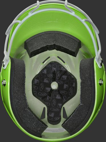 Inside of a neon green RCFHLFG Rawlings Coolflo helmet with facemask