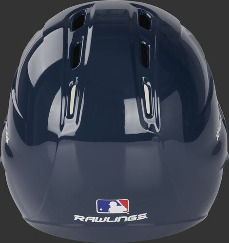 Back of a gloss navy R1601 Velo batting helmet with the Official MLB logo sticker