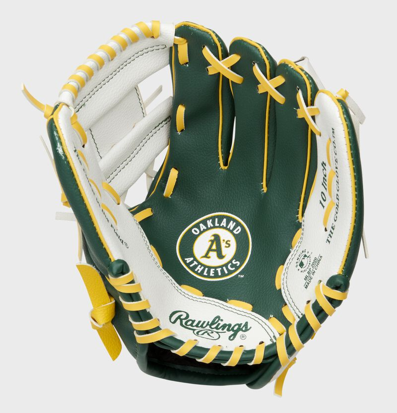A green/white Oakland Athletics youth glove with the Athletics logo stamped in the palm - SKU: 22000003111