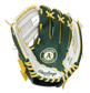 A green/white Oakland Athletics youth glove with the Athletics logo stamped in the palm - SKU: 22000003111 image number null