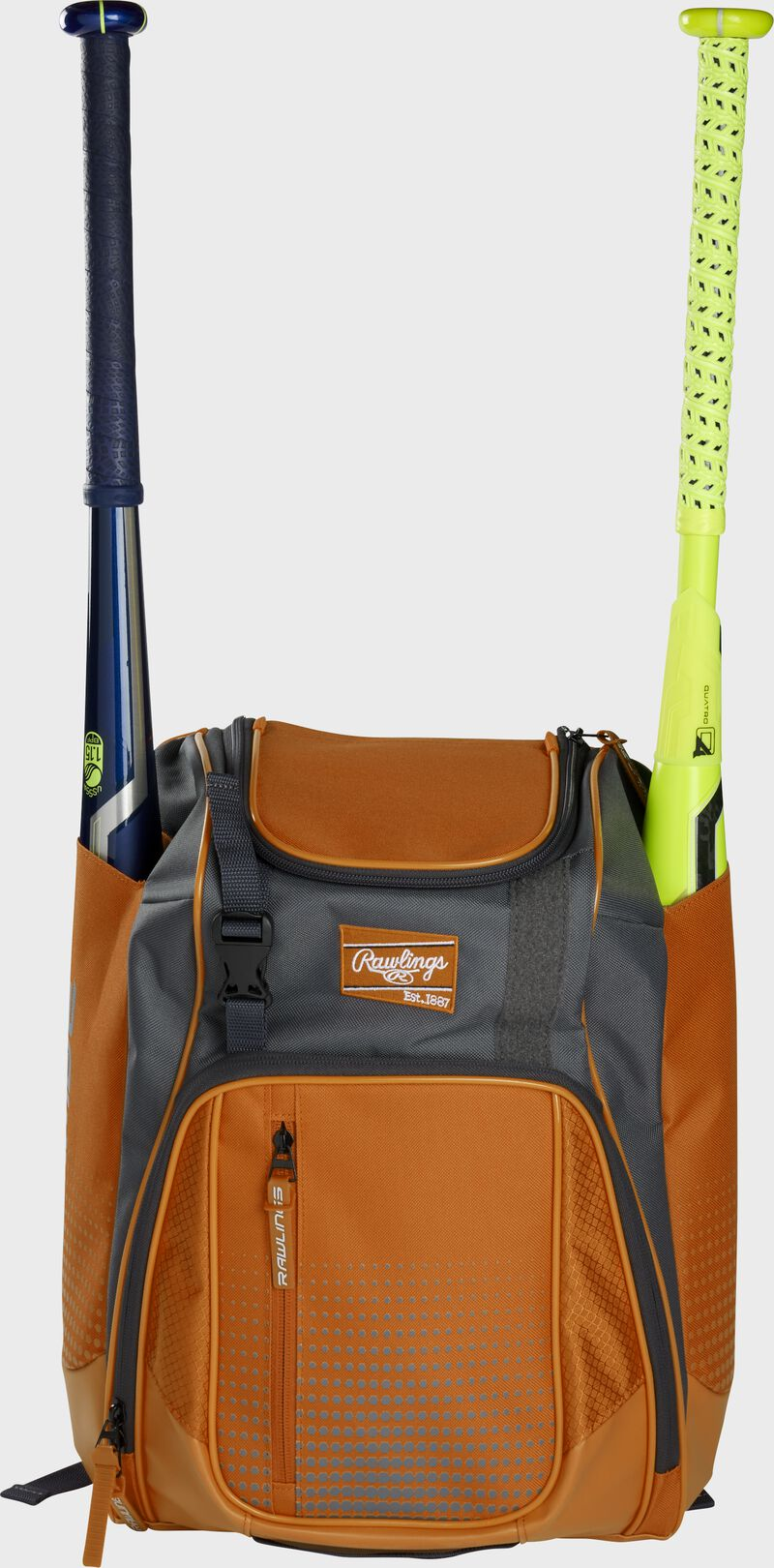 Front of an orange Rawlings Franchise baseball backpack with two bats in the side sleeves - SKU: FRANBP-O