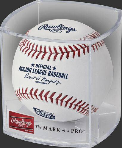 A ROMLBMS19 2019 MLB Mexico Series ball in a clear display cube