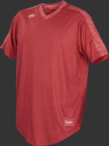 Front of Rawlings Scarlet Youth Short Sleeve Launch Jersey  - SKU #YLNCHJ-DG-89