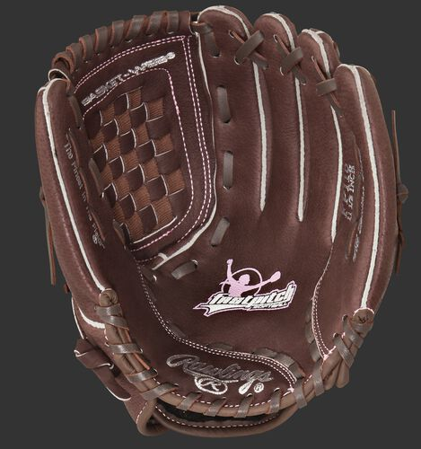Brown palm of a Rawlings fastpitch softball glove with a brown web and brown laces - SKU: MODFP115