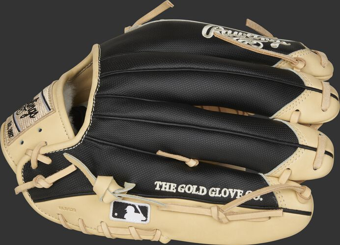 Black Speed Shell fingers of a Pro Preferred infield/pitcher's glove with the MLB logo on the pinkie - SKU: PROS205-4CSS-RH