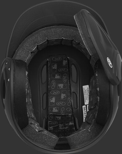 Inside of a Velo baseball helmet with black padding - SKU: R6E07L