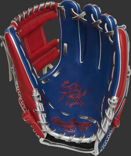 Royal palm of a Rawlings Heart of the Hide R2G infield glove with scarlet stamping and metallic silver laces - SKU: RSGPROR314-2RS